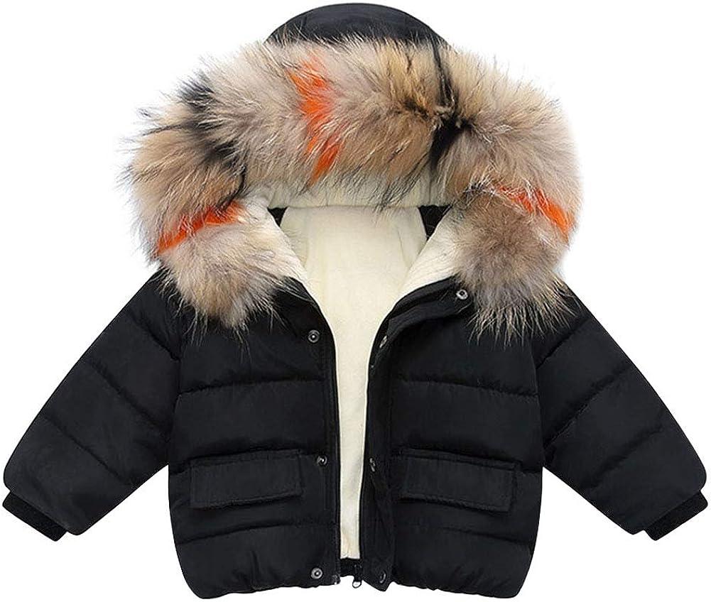 Toddler Kid Girls Fur Collar Hooded Jacket Thicken Fleece Down Coat Windproof Snowsuit Winter Zipper Outerwear Clothing