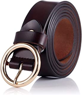 New Belt Women Belts Cow Genuine Leather Alloy Pin Buckle Fashion Style Design Very Strong and Durable (Color : Coffee)