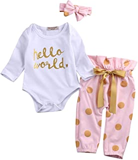 3PCS Infant Toddler Baby Girl Clothes Long Sleeve Ruffle Romper Bodysuit Floral Halen Pants+Headband Outfits