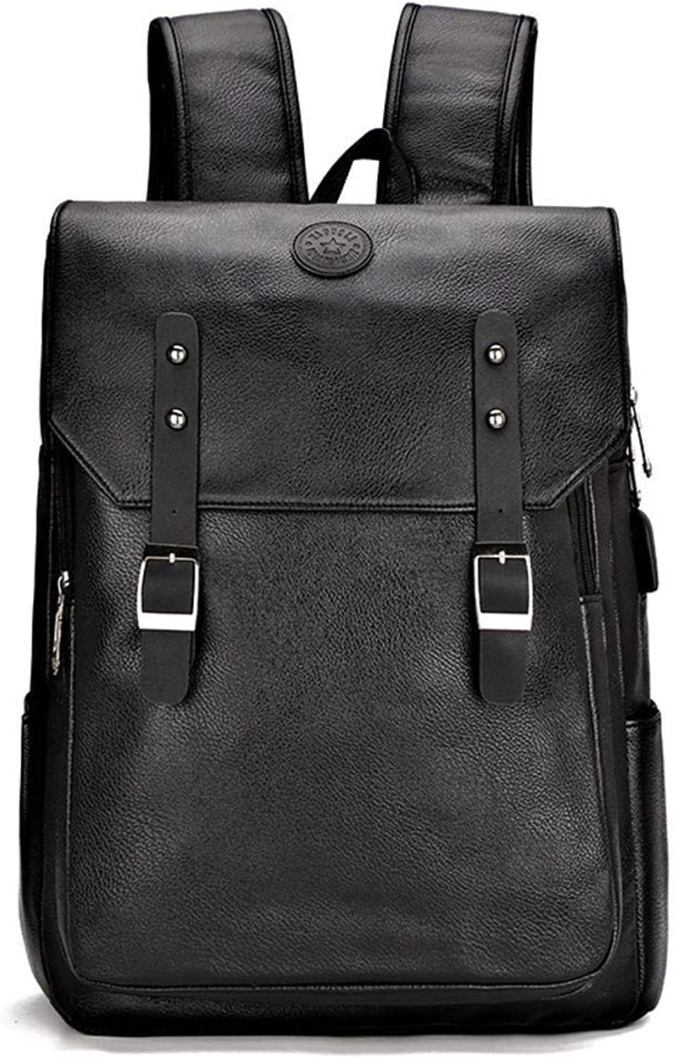 LXIANGP PU Leather Backpack Men's Casual Bag Fashion Trend Business Travel Computer Bag College Youth Bag