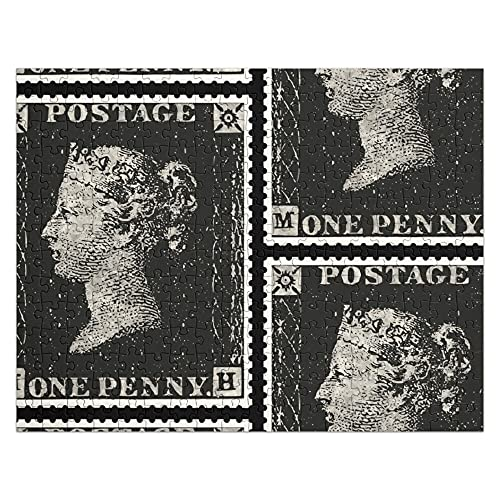 Victoria Queen Penny One Stamp Vintage Black Postage 252-piece Jigsaw Puzzle! Best Gift for Friends, Family! Limited Edition!