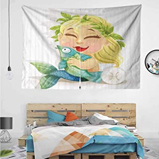 HuaWuChou Baby Pisces Symbol Art Tapestry Wall Hanging, Tapestries Hanging for Decor Bedroom Dorm Bedspread Picnic Blanket, 59W x 39.3L Inches