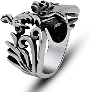 SAINTHERO Jewelry Titanium Steel Retro Maya Phoenix Bird Wrap Around Design Ring Women's Men's Rings