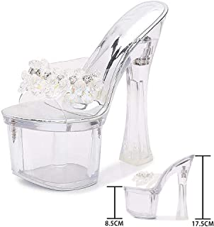Rhinestone Mules Women Transparent Sandals,Perspex Clear Block Heels,Clear Platform Open Toe Sandals for Dress/Party/Pumps