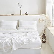 BISELINA Striped Linen Sheet Set 4 Pieces (1 Flat Sheet & 1 Fitted Sheet & 2 Pillowcases) Natural Flax Cotton Blend Soft B...