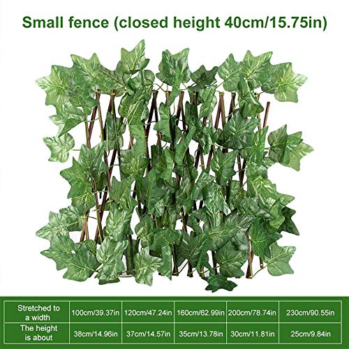 N/J Trellis Fence Panels, Trellis With Artificial Leaves, Retractable Garden Fence Panels, Fence Trellis Topper, Expanding Trellis With Leaves, Privacy Screen Green Trellis Panels For Garden Fence