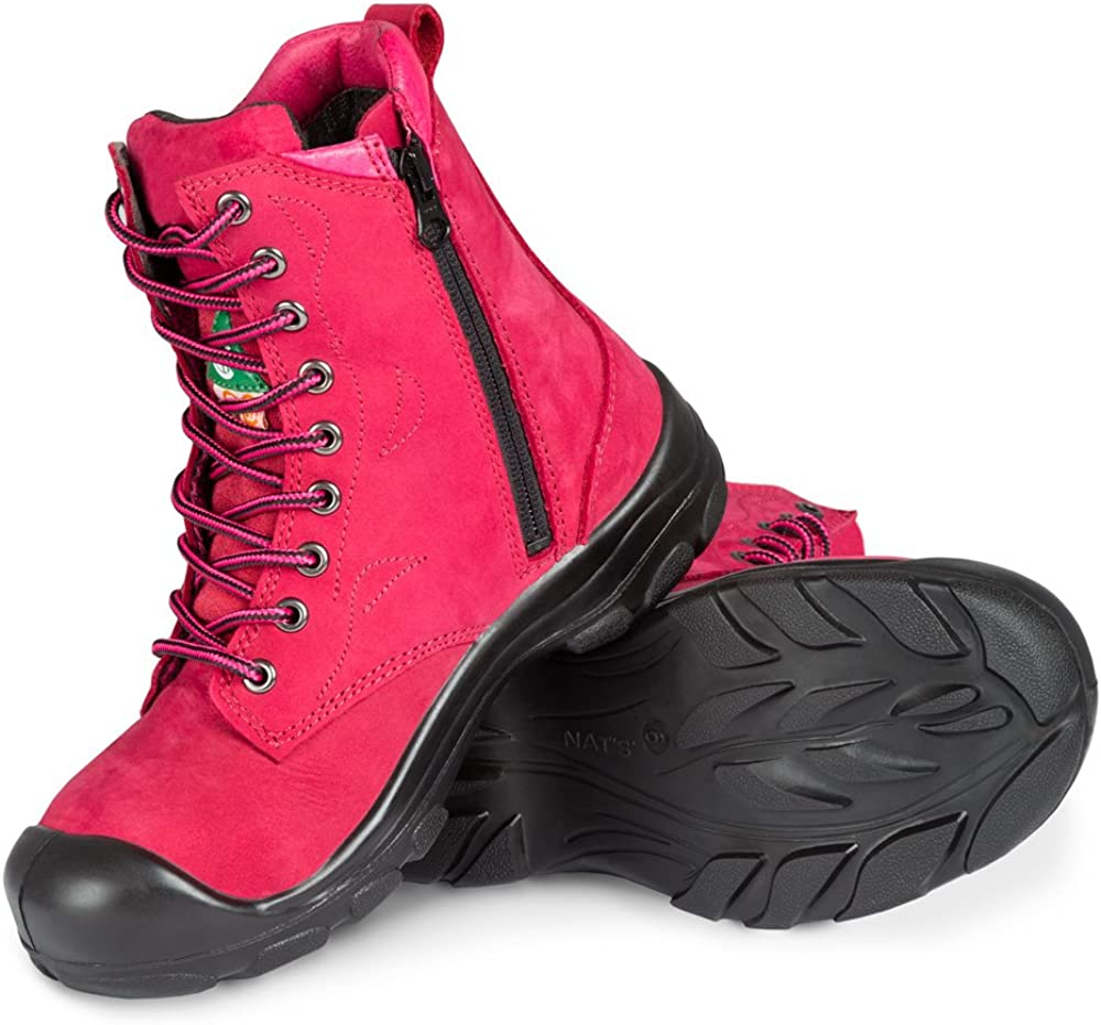 Women's Steel Toe Work Boots   Raspberry   8''