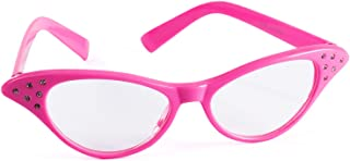 Funny Party Hats Cat Eye Glasses – 50's & 60's Glasses – Pink Costume Glasses – Pink Ladies – Grease Costume – Retro Costume Glasses