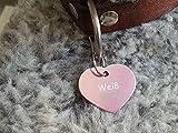 Gravuren.store 2 Stück Hunde-Katzenmarke Herz, Adressanhänger aus Aluminium, (31,5mm X 26,5mm M, Rose)