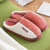 QPPQ Zapatillas de algodón para mujer y hombre, antideslizantes para otoño/invierno, zapatillas de algodón antideslizantes para parejas, naranja_4.5-5, cómodas zapatillas de algodón para interiores