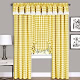 Achim Home Furnishings, Yellow & White Buffalo Check Window Curtain...