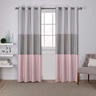 Exclusive Home Curtains Chateau Striped Faux Silk Window Curtain Panel Pair with Grommet Top, 54x96, Blush, 2 Piece