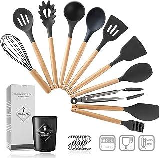 Pahajim 12PCS Silicone Cooking Kitchen Utensils Set with Holder, Silicone Utensil Set for Cooking with Wooden Handle BPA F...