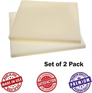 Upholstery Foam Square Seat Cushion Sheets - Two Pack - Premium Luxury Quality (1/2
