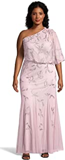 Adrianna Papell Women's Plus Size One Shoulder Beaded Evening Gown