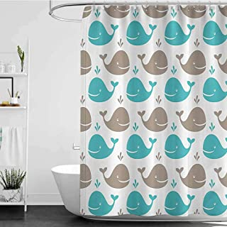homecoco Shower Curtains Blue Flowers Sea Animals Decor,Pattern with Smiling Whale Cartoon Repeated Design Children Illustration W65 x L72,Shower Curtain for Shower stall