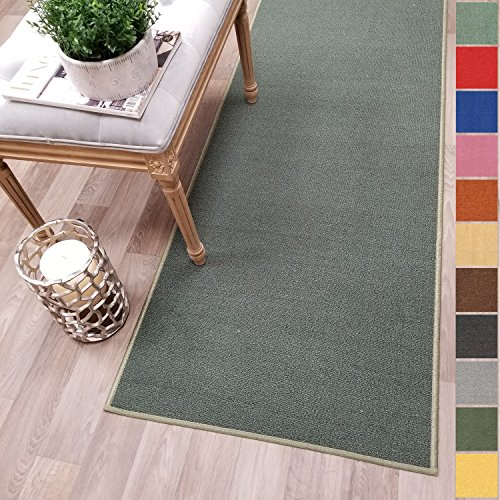 Kapaqua Custom Size TEAL-GREEN Solid Plain Rubber Backed Non-Slip Hallway Stair Runner Rug Carpet 26 inch Wide Choose Your Length 26in X 8ft