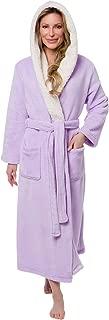 Full Length Hooded Long Robe - Women's Luxury Plush Bathrobe w/Sherpa Trim Collar