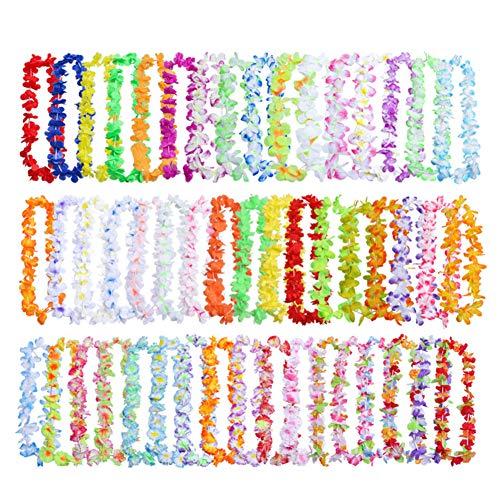Lot de 50 colliers hawaïens multicolores et vives fleurs hawaïennes, luau hawaïen en soie, thème Li, couronnes pour fêtes, événements, décorations 50pcs Voir image