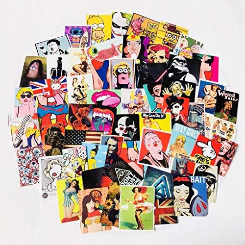 YZFCL Marea marca graffiti pegatinas de papel maleta pegatinas guitarra monopatín cuaderno decoración coche pegatinas 60 unids