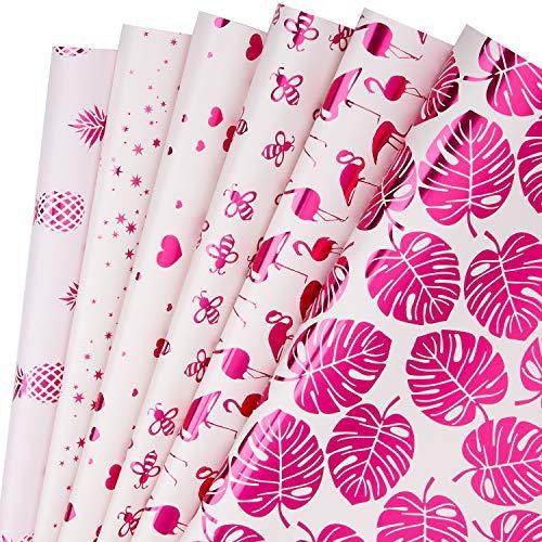 RUSPEPA Geschenkpapierblatt - Pink Mit Fuschia-Folien Für Geburtstag, Urlaub, Party, Babyparty - 6 Blatt, Verpackt Als 1 Rolle - 44,5 X 76 cm Pro Blatt