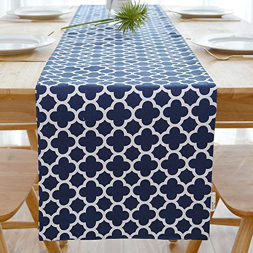 NATUS WEAVER 2 Piece Fabric in 1 Quatrefoil Lattice Accent Geometric Table Runner for Morden & Stylish Wedding Holiday Party Decor,Cotton Canvas 12 x 108 Inches Suitable for 8-10 People, Navy Blue