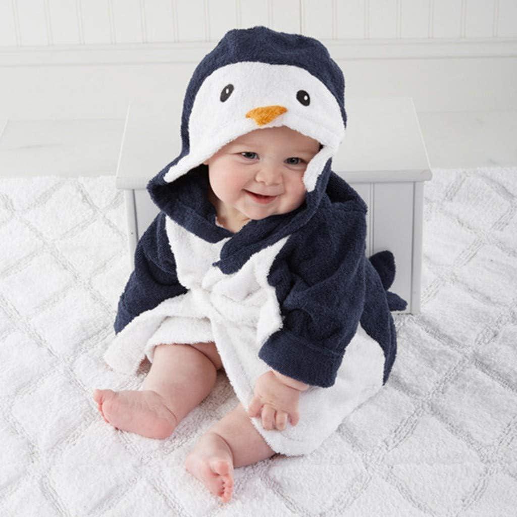 Toddler Baby Boys Girls Cartoon Animal Bathrobe Flannel Robe Winter Hooded Night-Robe Infant Home Bathing Nightgown