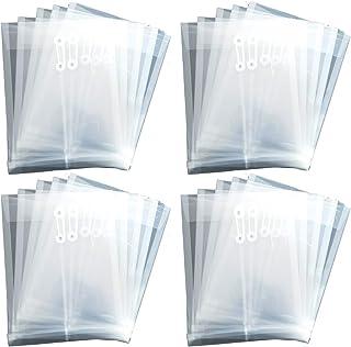 ヒロワールドトレード A4 サイズ ドキュメントケース マチ付き 20枚 厚口 クリアファイル ファイルケース 封筒 型 紐付き (透明20枚)