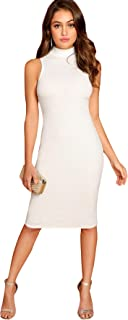 Women's High Neck Sleeveless Pencil Dress Casual Bodycon Dresses