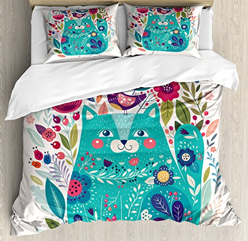 Ambesonne Cat Duvet Cover Set Queen Size, Kitty Surrounded by Birds Flowers Ladybugs Inspirational Folk Baby Theme, Decorative 3 Piece Bedding Set with 2 Pillow Shams, Green