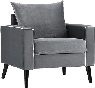 DIVANO ROMA FURNITURE Mid-Century Modern Velvet Fabric Armchair Living Room Accent Chair (Dark Grey)
