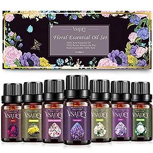 VSADEY Aceites Esenciales Aromaterapia 7 x 10 ml, Aceite Esencial Floral 100% Puro y Natural (Flores de Cerezo, Clavo, Jazmín, Lavanda, Rosa, Té Blanco, Ylang Ylang) para Humidificador y Difusor Aroma