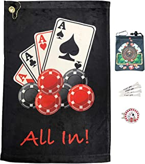Giggle Golf Par 3 - Poker Golf Towel, Tee Bag and Bling 4 Aces Ball Marker with Poker Chip Hat Clip