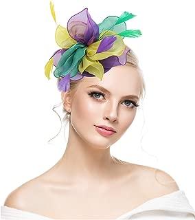 Fascinators Hat for Derby Wedding Women Tea Party Headband Kentuck Cocktail Flower Mesh Feathers Hair Clip