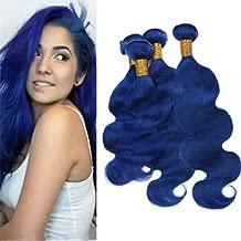 Zara Hair Dark Blue Human Hair 4 Bundles Deals 400g Bright Blue Wavy Hair Extensions Cheap Pure Color Blue Virgin Peruvian Body Wave Hair Weaves 4Pcs Lot (14 14 14 14 Inch)