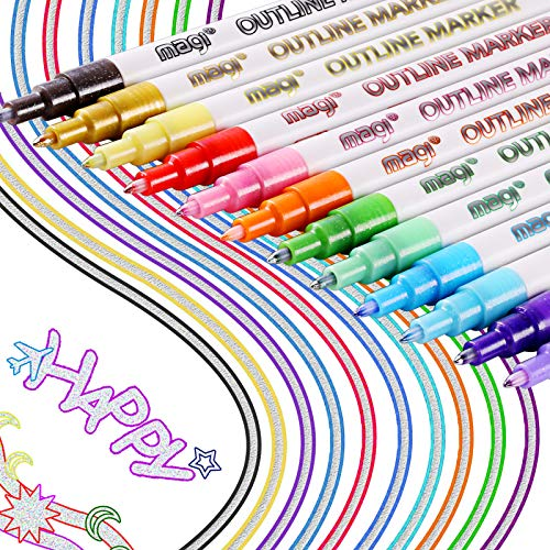 Outline Pens fur Kinder - Double Line Outline Stift 8/12 Farben Wasserfester Outline Pens Permanente Doppelte Linie Glitter Outline Stift für Geschenkkarte Malen DIY Art Crafts (12PCS Multicolor)