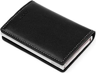 Slim Wallet Leather Rfid Safe Card Case Black