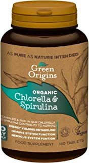 Organic Chlorella & Spirulina 500mg 180 Tablets
