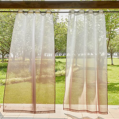 """NICETOWN Semi Sheer Ombre Outdoor Curtains 84"""" L for Patio, Rustproof Silver Grommet Waterproof Outdoor Living Divider for Safe Public with Rope Tiebacks, Taupe, 54"""" Wide, 2 Pieces"""