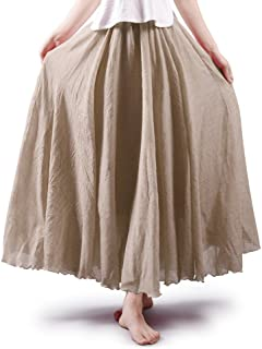 Women's Full Circle Elastic Waist Band Cotton Long Maxi Skirt Dress