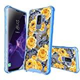 MINITURTLE Compatible with Samsung Galaxy S9 Plus [Flower Series] Shock-Absorbing Protective Case PC + Blue TPU Bumper - Bumble Bee Roses