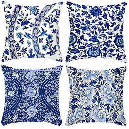 XIECCX - Copricuscini decorativi per cuscini, confezione da 4, in morbido lino, per divano, camera da letto, sedia, seggiolino auto, casetta 18 x 18 cm, Cotone lino, Blu 1, 18x18 Inch