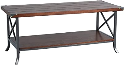 FURNITURE-R France Plantain CT Table Basse Style médiéval Vintage avec Grande étagère pour Salon, Jardin, Noir, Standard