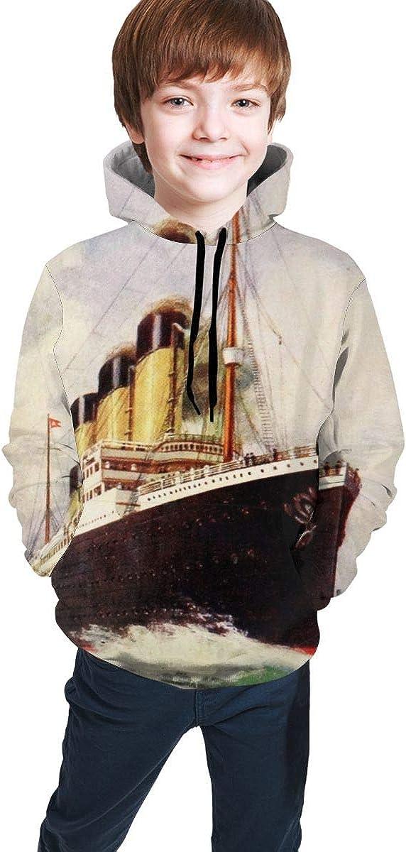 Vintage Ocean Rms Titanic Teen's Boys Hoodie Print New Drawstrin