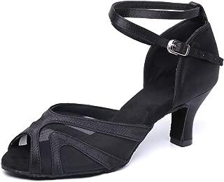 "JZNX Professional Latin Dance Shoes Satin Salsa Dancer Shoes Ballroom Tango Dancing Shoes Z02 for Women with 2.4"" Heel (5, Black)"