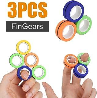 HOWADE Finger Magnetic Ring,Magnet Rings Props Tools Fidget Toy,Anti-Stress Magnetic Bracelet Ring Unzip Hand Spinner Fing...