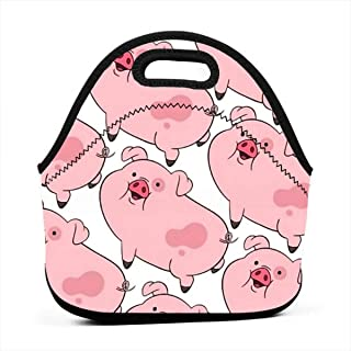 Neoprene Waterproof Portable Lunch Bag - Reusable Picnic Box Soft Insulated Food Tote With Zipper Outdoor Travel Bento Bags - Gravity Falls Cartoon Cute Pet Pig Waddles