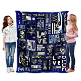 Thin Blue Line Police Flag 3D Printed Soft Blanket for Kids and Adults Fleece Reversible Anti Pilling Flannel Blanket 50 X 40 inch