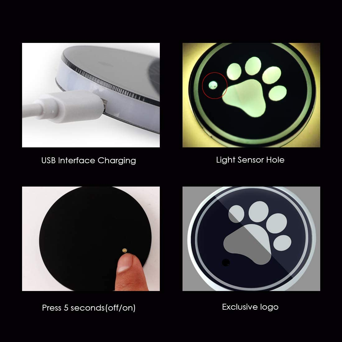PAW A Maodaner 2PCS LED Car Cup Holder Pad Mat,Dog Paw Bottle Drinks Coaster with RGB Changing USB Charging Mat Interior Atmosphere Lamp Decoration Light for Car N