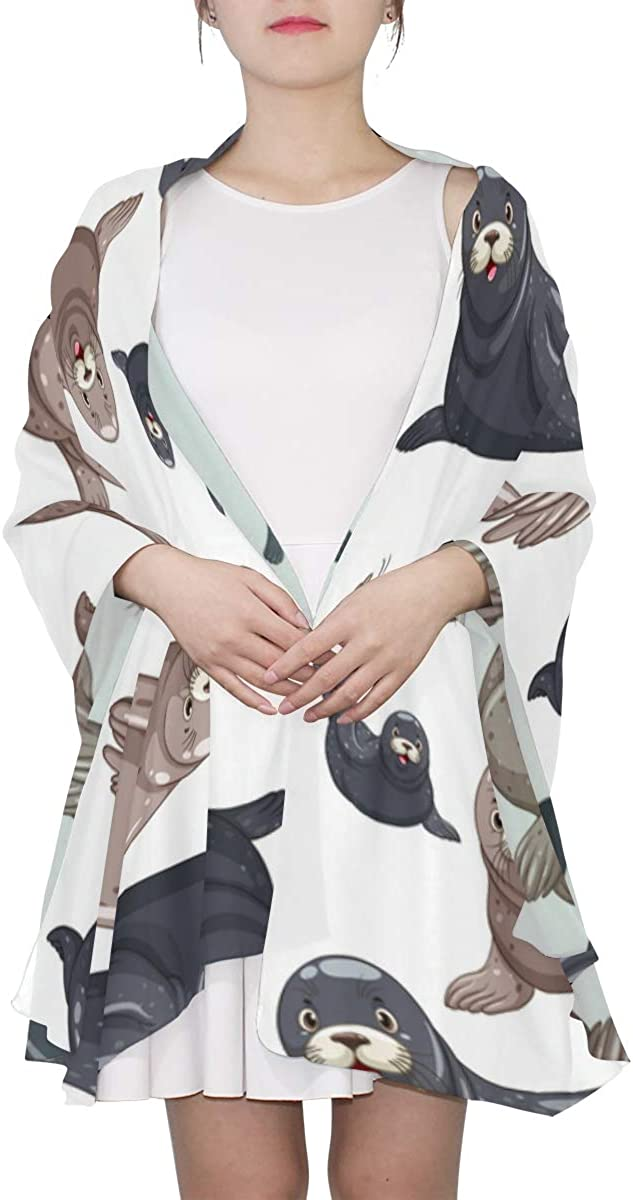 Cute Baby Sea Lion Unique Fashion Scarf For Women Lightweight Fashion Fall Winter Print Scarves Shawl Wraps Gifts For Early Spring